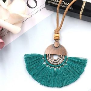 Jewelry - ✨HP✨ Boho Tassel Necklace with Faux Leather Chain